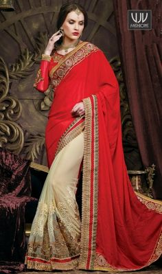 Attractive Red And Green Net And Banarasi Designer Saree Attractive red and green net and banarasi designer saree featuring embroidery, zari, stone, resham, lace and patch border work.
