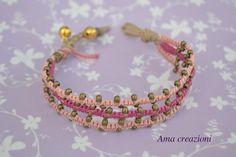 Bracciale macramè con campanelli rosa di Amacreazioni su Etsy