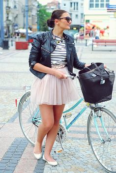 tutu skirt, striped top, leather jacket, bun, ballet flats, and turquoise bicycle, via Mullanstyle