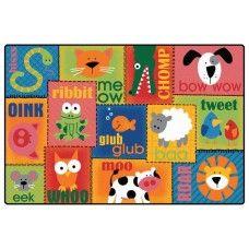 Kids Rugs: Animal Sounds Toddler Rug - 4' x 6' Rectangle