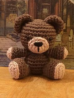 """This is a free crochet pattern for a small, sitting teddy bear. This teddy is made using the same basic body structure as my free Sunny Bunny pattern. He measures approximately 3.75"""" tall and was made using Sugar n' Cream cotton yarn and a 3mm hook. You can use any yarn and hook desired, it will only change the size of your finished te"""