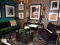 Danielle Colding's Urban Girls Dressing Lounge for Design On A Dime.  AphroChic's Juju Black and Gold wallpaper.