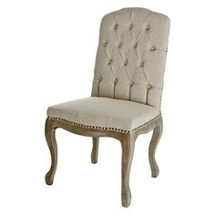 Buy Best Selling Tufted Fabric Weathered Hardwood Dining Chair, Beige, Set of 2 - Topvintagestyle.com ✓ FREE DELIVERY possible on eligible purchases