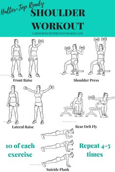The best shoulder exercises to get ready for hatler top and sleeveless tops in the summer! This shoulder workout has the best delt exercises.