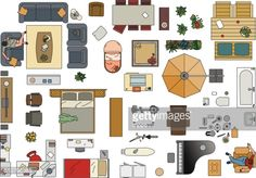 Colored Vector Ilration Of Furniture To Make A Floor Plan