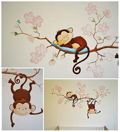 Aapjes aan een bloesemtak | muurschildering | babykamer | www.groeneballon.nl | Den Haag