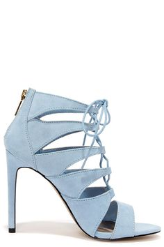 Madden Girl Raceyyy Baby Blue Suede Lace-Up Heels | Love the color