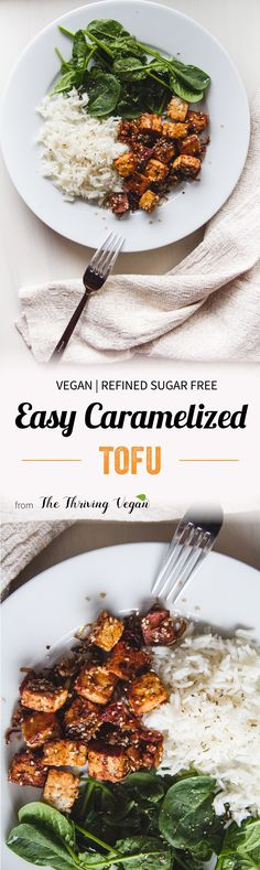 This recipe is for everyone who has ever encountered tasteless and plain tofu. Voila- the easiest and tastiest caramelized tofu recipe ever! Tofu Recipes, Vegan Dinner Recipes, Delicious Vegan Recipes, Asian Recipes, Whole Food Recipes, Vegetarian Recipes, Cooking Recipes, Healthy Recipes, Tasty Recipe