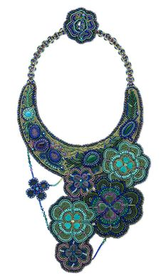 Bib-Style Necklace with Seed Beads and Gemstone Cabochons and Beads - Fire Mountain Gems and Beads
