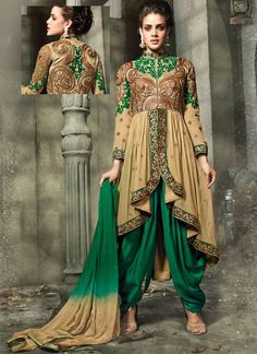 Cream Georgette Embroidered Work Designer Straight Suit