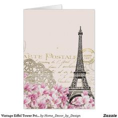 Vintage Eiffel Tower Print Card