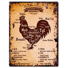 Chicken Meat Cuts Guide Chart Retro Rustic Vintage Kitchen Wall Decor 9x12 Metal Plate Chic Sign Home Store Decor Plaques * Find out more about the great product at the image link. Note:It is Affiliate Link to Amazon.