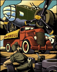 The Brittle Comic-Book Illustrations by Chris Gall - love this woodcut look Art Deco Posters, Vintage Posters, Automotive Art, Aviation Art, Art Deco Design, Military Art, Dieselpunk, Illustrations Posters, Vector Art