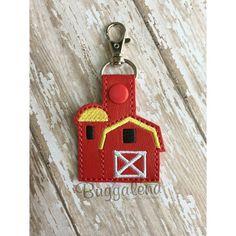 Farm Barn Key Fob Embroidery Design Snap Tab