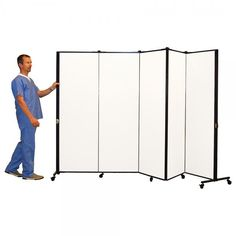 Healthflex Medical Privacy Screens are constructed using acoustical, tackable fabric panels covered with an antimicrobial coating. Panels glide on self-leveling ball bearing casters and are constructed using reinforced steel end supports for durability and maximum stability. Gap-free fully hinged panels allow you to create a variety of shapes and angles such as straight lines, L-shapes, zigzags and semi-circles while still maintaining patient privacy.
