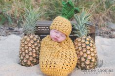 This is a completely original design newborn pineapple swaddle sack and hat... How adorable would you little one be as a sweet little pineapple...