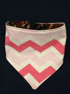 Reversible Bandana Bib in Pink chevron and Football