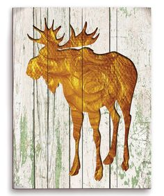 Look at this #zulilyfind! Gold Moose Silhouette Wall Art #zulilyfinds