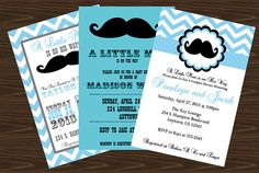 Mustache Baby Shower Invitation and Thank You Card, Little Man Baby Shower Invitation- Digital File