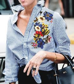 Embroidery On Clothes, Shirt Embroidery, Embroidered Clothes, Embroidery Fashion, Embroidery Designs, Floral Embroidery, Chemises Country, Fashion Models, Fashion Outfits