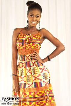 High Waisted Kimono African Print Dress