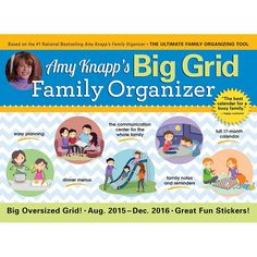 Amy Knapp's Big Grid 2016 Wall Calendar | $14.99 | The essential organization and communication tool for the whole family! This 17-month wall calendar features extra-large, spacious, big-grid design that users love. The growth of sales year after year, and the customer reviews, prove it: This is the best calendar for a busy family.