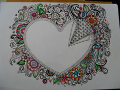 so creative and colorful Tangle Doodle, Tangle Art, Doodles Zentangles, Zen Doodle, Zentangle Patterns, Doodle Art, Love Doodles, Doodle Coloring, Doodle Inspiration