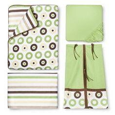 Green Mod Dots & Stripes 10pc Crib Bedding Set ( w/out Bumper) by Bacati