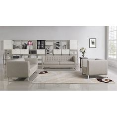 Divani Casa Dominic Modern Grey Fabric Sofa Set   Overstock Shopping    Great Deals On Sofas U0026 Loveseats