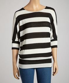 Take a look at this Black & Ivory Stripe Elbow-Sleeve Top on zulily today!