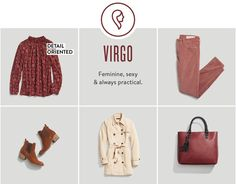 """Zodiac Sign Style - Virgo, you have a deep love of the classics and gravitate toward tailored silhouettes. Channel your two power colors this year (red and ivory!) to add something unusual to your typical style. Always polished and grown-up, you have a way that says """"look at me"""" but is never overdone. Your subtle style restraint will result in your signature, lady in red look this year."""