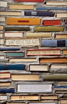 brick book wall. i can't imagine ever having this many books that i couldn't/wouldn't use, but it's neat nonetheless.