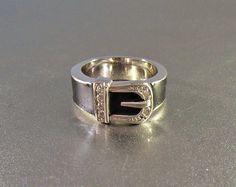 Enamel Diamond Buckle Ring Rhodium Silver Size 7