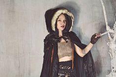 Black Raven Fur Cloak / Winged Ritual Cloak / Black Fur Hooded www.RPDesignHouse.etsy.com #darkfashion #cosplay #costume  #couture  #cloak #hoodedcloak  #gothfashion #performance #film