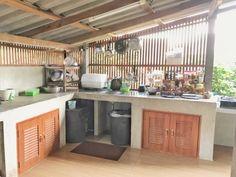Kitchen Ideas Philippines, Philippines House Design, Simple Kitchen Design, Outdoor Kitchen Design, Kitchen Interior, Kitchen Decor, Small Outdoor Kitchens, Tropical House Design, Log Home Kitchens