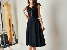 Vintage Black Vogue 1950s Dress