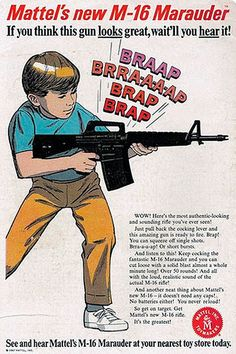 This insane ad shows a kid holding a weapon! It tell kids that they should get this toy weapon and use their imagination to kill people. Why, or how, did anyone ever think that it would be appropriate to sell kids toy guns that look like real guns?