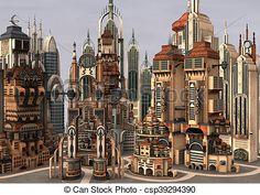 3D rendering futuristic města Ilustrace - sériová ilustrace, volné ilustrace, sériová klipartová ikona, sériové klipartové ikony, logo, liniové umění, obrázky, grafické umění, grafické umění, kresba, kresby, umělecká díla