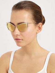 Like the mirror cat eye sunnies from Wolverine! Tom Ford Nastasya Metal Catseye Sunglasses in Gold