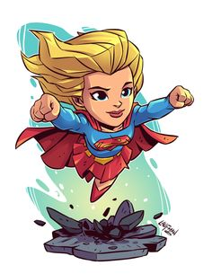 Chibi Supergirl by Derek Laufman Marvel Dc Comics, Chibi Marvel, Dc Comics Art, Marvel Art, Comic Kunst, Comic Art, Character Drawing, Comic Character, Super Heroine
