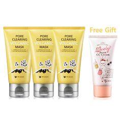 MIZON Pore Clearing Volcanic Mask 80g x 3 EA + Gift: 10vely Beam CC Cream #MIZON