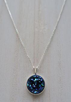 GraceJewelryCo, Marine Blue Sterling Silver .925 Druzy Necklace, 12mm Druzy Pendant, Druzy Charm, Round Druzy Stone $24
