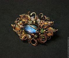 Брошь в винтажном стиле - голубой,лабрадорит натуральный,брошь с камнями
