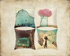 Decorative Pillow Cover Aqua Country Set Barn Vintage Turquoise Truck Windmill Pink Hydrangea Rustic Farmhouse Cottage Decor Home Bedroom