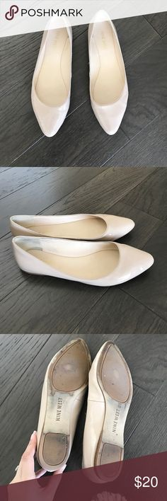 Nude Flats Worn only a couple of times. Classic flat style. Man made materials, but very comfortable. I never reach for them, so hope they can find a better home! Nine West Shoes Flats & Loafers