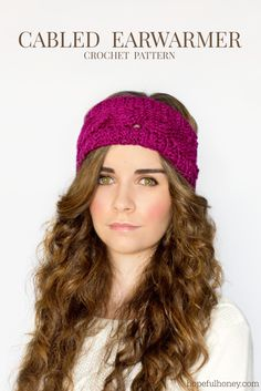 This cabled crochet headband is great to wear for that morning jog. Pattern and Tutorial by Hopeful Honey