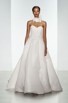 Harlyn. Silk gazar dropped waist ballgown with hand-beaded Alencon lace applique.