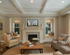fireplace windows. I love the fireplace and window seats  New Construction Edina Arden Park traditional family room mantels with windows on each side or