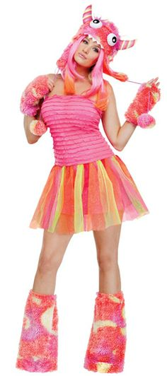 Wild Child Cute Pink Monster Ladies Halloween Fancy Dress Womens Costume Outfit | eBay
