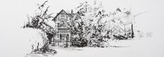 Villa in Bussum, the Netherlands. Lex Hamers. Drawing on paper,70 x 25 cm. 04/03/2013